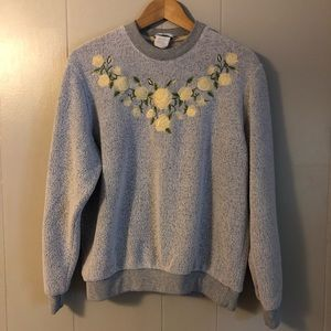 Vintage Floral Embroidered Sweatshirt